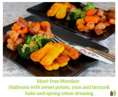 Meat-free Monday: Halloumi with sweet potato, yam and broccoli bake and spring onion dressing Broccoli Bake, Halloumi, Yams, Sweet Potato, Onion, Vegetarian Recipes, Dressing, Potatoes, Dishes
