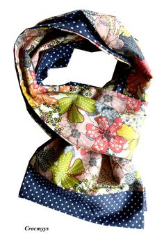 Foulard liberty mauvey orange et gris : Echarpe, foulard, cravate par crocmyys
