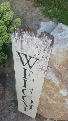 """Tall Welcome Sign on Reclaimed Barn Wood (8.5""""x42"""") Vertical Porch Sign by Home is a Sanctuary on Etsy"""