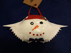 Hand Painted Blue Crab Shell Ornament by AmyBsArt on Etsy, $8.50