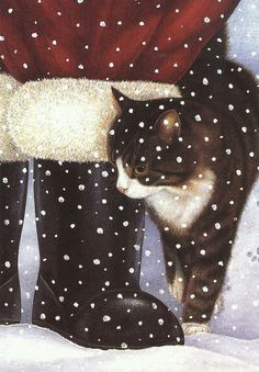 a kitty Christmas. Christmas Scenes, Christmas Animals, Christmas Cats, Christmas Pictures, Xmas, Father Christmas, Funny Christmas, Christmas Illustration, Illustration Art