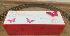 Stampin Up, Box, Verpackung, Baby, Geburt, Herzlich Willkommenb, Schmetterlinge, Butterfly.