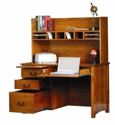 Amish Rivertowne Desk with Open Hutch Top Work at a wood desk that will last for generations with the exceptional Rivertowne. Built in Amish country in the wood, stain and hardware you select. #desks #officefurniture