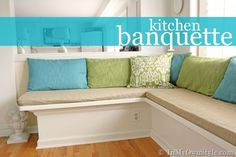 How to make a kitchen banquette, window seat, as well as cushions and back pillows. {InMyOwnStyle.com} {InMyOwnStyle.com}