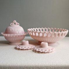 Vintage Large Pink Milk Glass Footed Bowl by BarkingSandsVintage