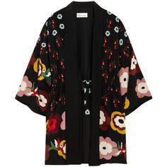 REDValentino Floral-print silk crepe de chine kimono jacket ($950) ❤ liked on Polyvore featuring outerwear, jackets, kimono, coats & jackets, black, flower print kimono, multi color jacket, floral kimono, floral jacket and colorful jackets