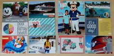 Its a Good Day Double Page Spready by Nancy Damiano- photos, paper, and memorabilia complement each other