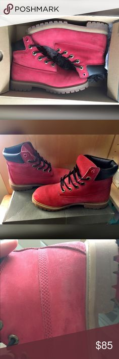 Red Timberland boots Red timberland boots . Size 6 in juniors. Minor scuffs marks in the front of right boot. Timberland Shoes
