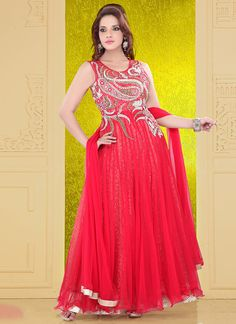Gleaming Red Net Ankle Length #Anarkali Suit