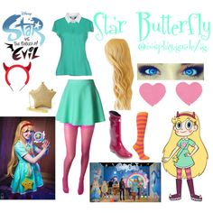 Star butterfly cosplay by consultingpolyvorer on Polyvore featuring VDP, Cole Haan, Chicwish and Sock It To Me