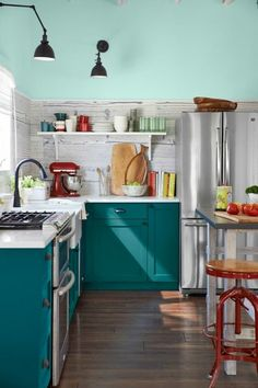 Teal Kitchens teal and red yellow orange kitchen | teal cabinets, red windows