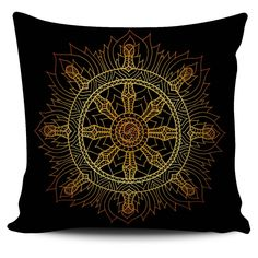 $5 FLASH SALE - Golden Wheel of Dharma - Colorful zentangle inspired pillow covers!