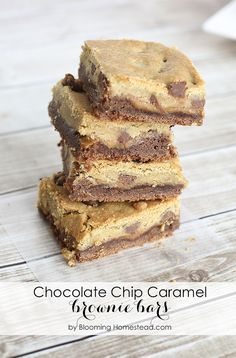 Chocolate Chip Caramel Brownie Bars