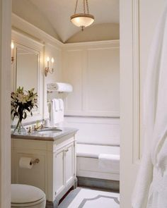 """A vaulted ceiling, custom millwork and floor design, elegance for a bath. As featured in Barbara Sallick's """"The Perfect Bath"""" @wtrwrks. .⠀"""