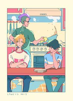 ash, eiji and shorter fanart Manga Anime, Anime Guys, Anime Art, Geeks, Banana Art, Kill La Kill, Animation, Fish Art, Noragami