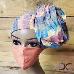 'Pastel Dreams' Striped Head Wrap + Mask Set