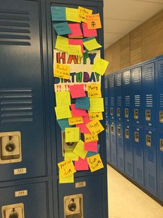 Cute locker idea for friends on their birthday  (each sticky note has its own nice note written on it!)
