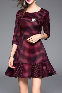 Dder Wine Red Houndstooth Flounced Mini Dress | Mini Dresses at DEZZAL