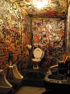 CBGB's toilet, New York City.  I have been here! before they closed her down!!!!