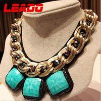 LEADO new 2014 fashion brand korea short blue rhinestone statement necklaces chains jewelry for women wedding accessories LJ048