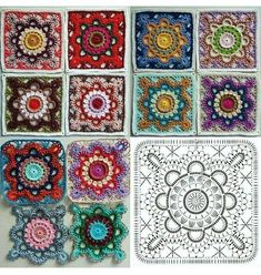 Transcendent Crochet a Solid Granny Square Ideas. Inconceivable Crochet a Solid Granny Square Ideas. Crochet Motifs, Granny Square Crochet Pattern, Crochet Diagram, Crochet Chart, Crochet Granny, Knit Crochet, Crochet Flower, Manta Crochet, Crochet Squares