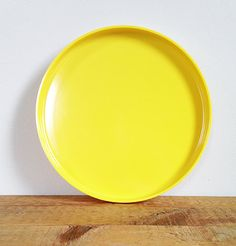 Heller Plates -- 7 Available -- Mid Century Modern -- Stackable Vintage Plasticware -- Massimo Vignelli -- 60s Dishes -- Bright Lemon Yellow by ImprovGoods on Etsy