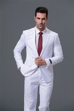 White 1-Button Slim Fit Business Suit For Men Item Type  Suits Suit Style 062af102f3