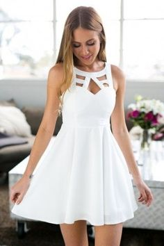 White Open Back Homecoming Dress,Crochet Back Skater Dress