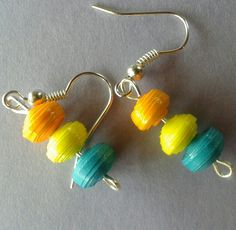 Paper bead earrings...!!! Summer collection :)