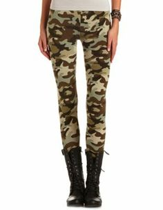 """camo print cotton legging: charlotte russe Wild Heart collection! This chic legging comes in stretch cotton with a camouflage print and slimming elastic waistband; 25"""" inseam."""