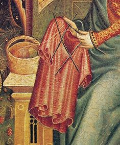 Blog about medieval clothing - don't care image of someone knitting a shirt!