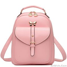Wow~ Awesome Cute Girls' Bow Buckle Student Bag Simple PU College Backpack! It only $34.99 at www.AtWish.com! I like it so much<3<3!