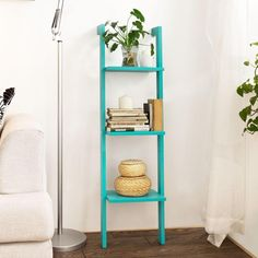 estanteria_escalera Storage Shelves, Wall Shelves, Shelving, Shelf Display, Ladder Bookcase, Bookcases, New Homes, House Design, Living Room