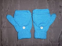 Imaginary Bloo Mittens (Pattern/Tutorial) - KNITTING - I made these mittens for a swap, I was swapping with a Foster's Home for Imaginary Friends fan who wanted some mittens (it was a wishlist based s Knitted Mittens Pattern, Fingerless Gloves Knitted, Knit Mittens, Baby Knitting Patterns, Loom Knitting, Knitting Stitches, Free Knitting, Knit Socks, Knitted Hats