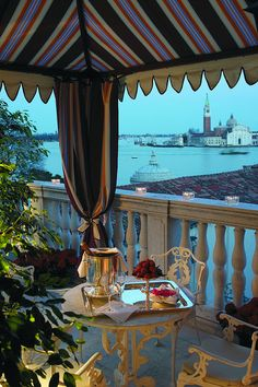 STUNNING HOTELS - Terrace View from The Luna Hotel Baglioni, Venice, Italy.