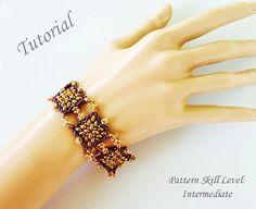 Bracelet beading tutorial instructions - beadweaving pattern beaded Superduo or Twin seed bead jewelry - SPANISH TILES