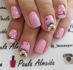 Love Nails, Fun Nails, Pretty Nails, Painted Toe Nails, Acrylic Nails, Panda Bear Nails, Vintage Nails, Nails For Kids, Pink Nail Art