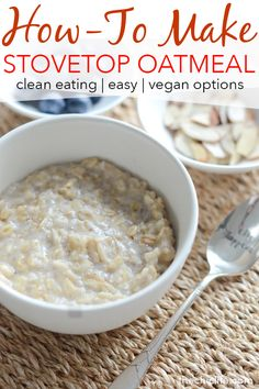 Video: How to Make Oatmeal on the Stove and Easy Rolled Oats Recipe - The Chic Life Vegan Recipes Easy Healthy, Whole Food Recipes, Healthy Snacks, Keto Snacks, Healthy Eating, The Oatmeal, Steel Cut Oatmeal, Best Oatmeal
