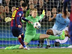 "Lionel Messi hailed Joe Hart 's performance during Barcelona's Champions League second-leg win over Manchester City as ""phenomenal"" despite the England 'keeper finishing up on the losing side. Barcelona Champions League, La Champions League, Tranmere Rovers Fc, Blackpool Fc, Shrewsbury Town, 1 Vs 1, Spanish Sides, Birmingham City Fc, Football Pictures"