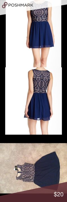 Want & Need Mini Dress Want & Need mini dress with a lace top and nude underlay. Sheer skirt and sleeveless top. Great for date night!  100% polyester. Hand wash cold. Fits true to size. Want & Need Dresses Mini
