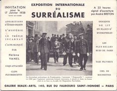 Invitation to Exposition internationale du Surréalisme at Galerie des Beaux-Arts, Paris, 1938