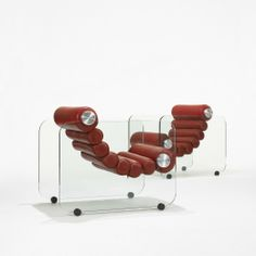 Fabio Lenci; Glass, Leather and Aluminum lounge Chairs for Comfort Line, 1967.
