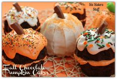 Fall Chocolate Pumpkin Cakes from SixSistersStuff.com #halloween