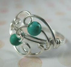 RING - Wire Wrapped Ring Turquoise &  Sterling Silver.