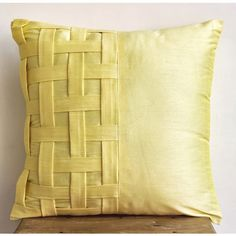 Decorative Throw Pillow Covers Couch Pillow Sofa 20 Inch Silk Pillow Cover with Basket Weave Yellow Brick Road Home Living Decor Housewares Sofa Throw, Throw Cushions, Couch Pillows, Throw Pillow Covers, Yellow Sofa, Yellow Cushions, Yellow Pillow Cases, Yellow Home Decor, Yellow Art
