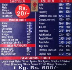 Bombay Natural Kulfi, Lakdikapul Menu