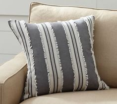 Appliqué Stripe Pillow Cover. Outdoor Throw ...