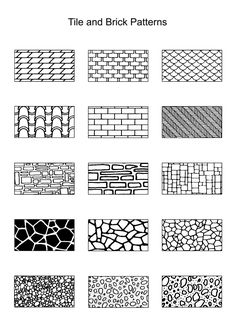 "Examples of Tile and Brick Patterns; for the girls' play house in the backyard! CANNOT wait to start painting their ""castle"" :)"