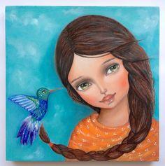 Girl and hummingbird illustration by Ankakus