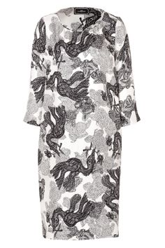 BY MALENE BIRGER - Silk Kesiam Dress in Black  A fantastical illustrated print lends a bit of whimsy to this silk dress from by Malene Birger list iconBlack/grey/white printed silk, round neckline, 3/4-length sleeves, slit sides Straight silhouette Team with a knit jacket and studded boots or a statement necklace and heels  100% Silk